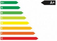 Zeigt eine typische Energieffizienzplakette die beim Kauf eines Kühlschranks beachtet werden sollte